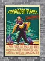 1950's Movie - FORBIDDEN PLANET - Anne Francis - cyan / canvas print - self adhesive poster - photo